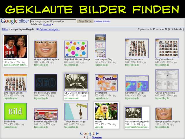 Site-Abfrage: geklaute Bilder finden (Hotlinks URLs werden angezeigt)