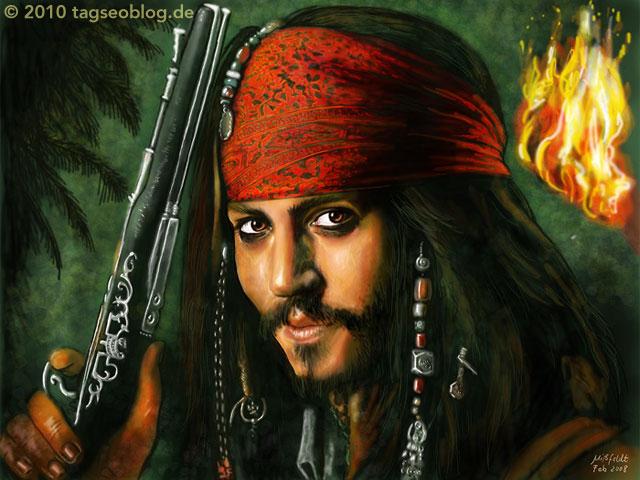 Pirat mit Piratenpistole und rotem Piratenkopftuch