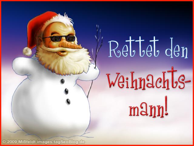 Weihnachtsmann als Schneemann
