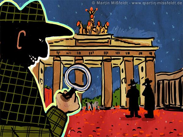 Detektiv in Berlin observiert Brandenburger Tor
