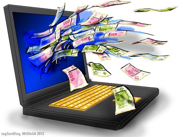 Geld verdienen im Internet (Geld sprudelt aus Computer PC)