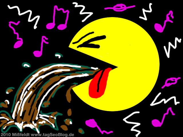 Pacman kotzt wegen ätzender Musik