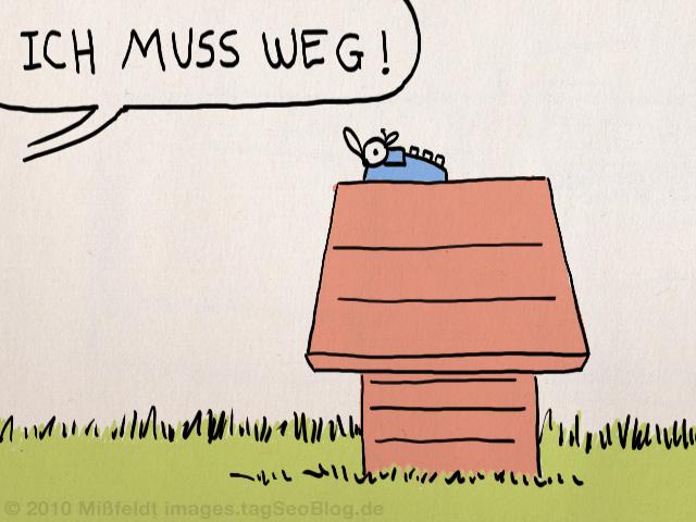 Snoopy: ich muss weg! (leere Hundehütte)