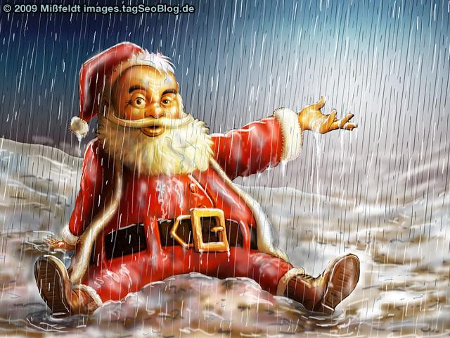 Weihnachtsmann - Danke,  liebe Klima-Erwärmung ...
