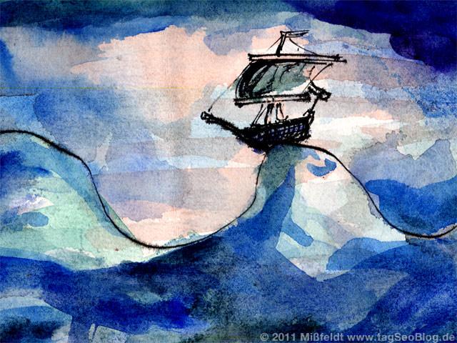 Schiff auf hoher See (tsunami?)