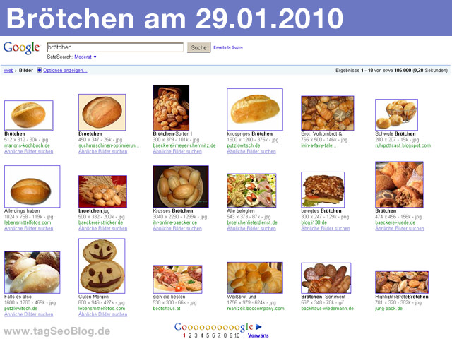 Brötchen bei google (Januar 2010)