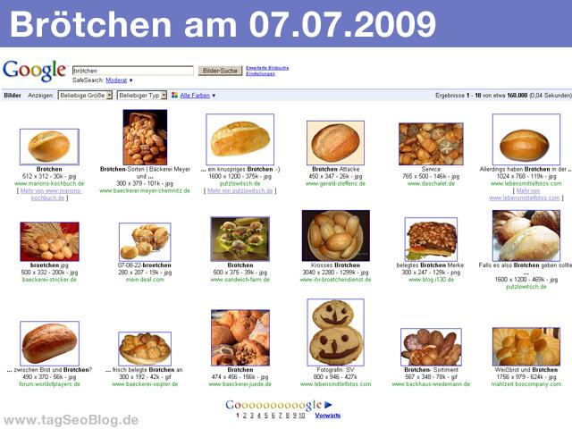 Brötchen bei google (Juli 2009)