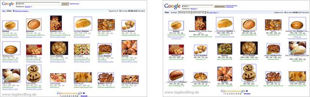 Entwicklung der Brötchenbilder in der Google Bildersuche - links: Januar 2010, rechts: Juli 2009