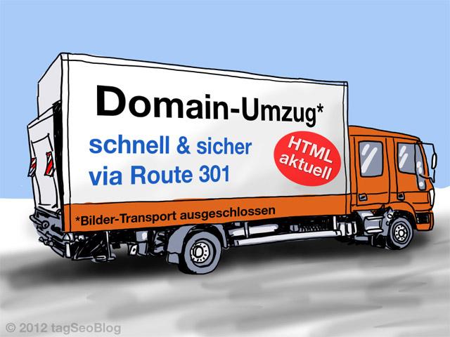 Domain Umzug per 301 - leider ohne Bilder