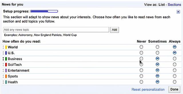 Google News personalisieren
