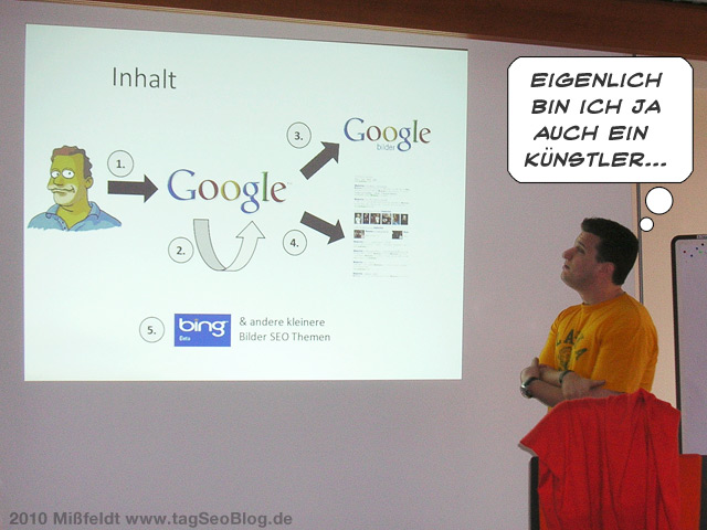 Andre Alpar beim Bilder-Seo-Vortrag (vor barokeskem Slide)