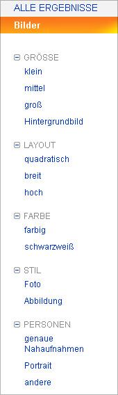 Bing Bildersuche Suchoptionen