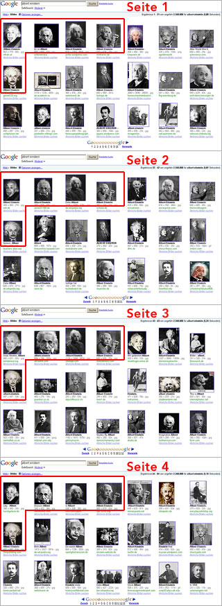 Albert Einstein - Bildersuche Seite 1 bis 4
