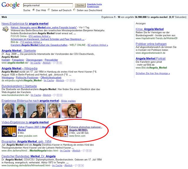 Google Universal Search Screenshot: Angela Merkel