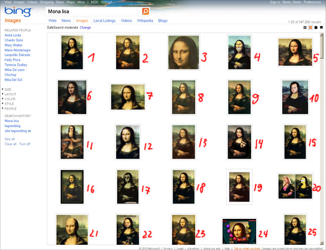 Bing Bildersuche August 2010 (US-Version, keyword Mona Lisa)