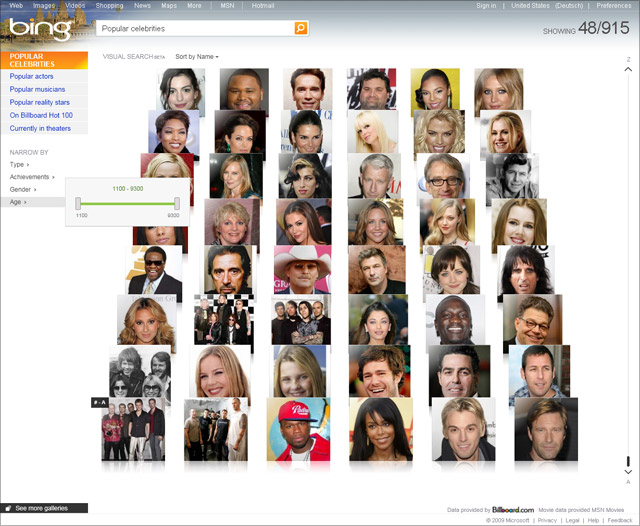 Bing Visualsearch (Celebrities age)