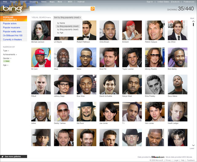 Bing VisualSearch (Celebrities - male - Bing popularity)