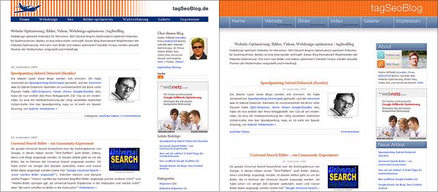 Blog-Design im Vergleich: vorher (links) und nachher (rechts)