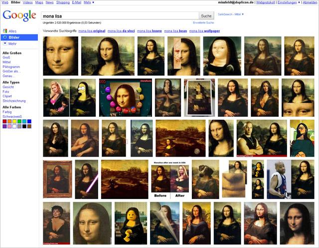 Google Bildersuche Auust 2010 (US-Version, keyword Mona Lisa)