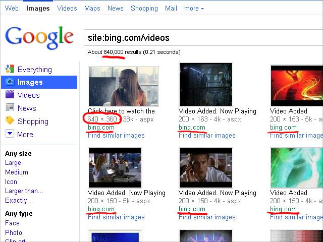 Google Bildersuche zeigt Bing Videosuche-Thumbnails