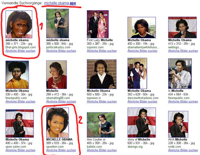 Screenshot: Michelle Obama als Affe (Google Bildersuche)