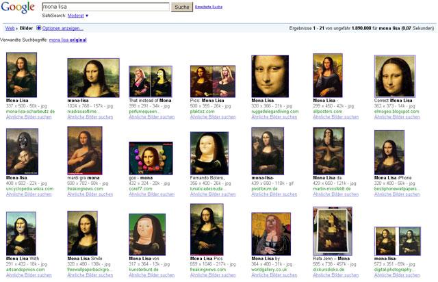 Mona Lisa in der Google Bildersuche - Seite ?