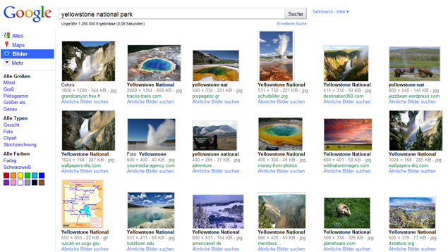Google Bildersuche bisher - alt (yellowstone national park)