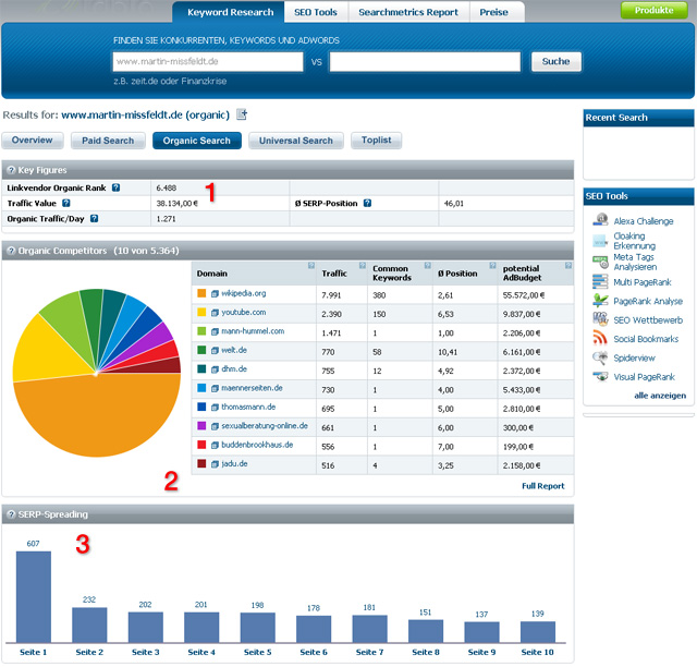 Rapid-Searchmetrics Site - Organic-Keywords