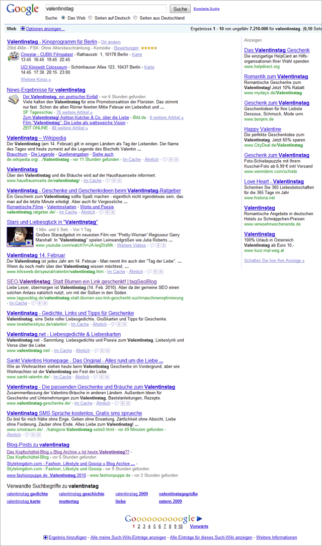 Valentinstag in den Google-Serps (Screenshot) - viel Universal Stuff