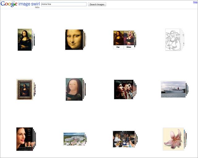 Screenshot Google Swirls Startseite - Suche nach Mona Lisa