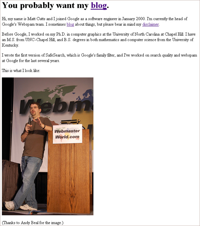 Screenshot: MattCutts.com (30 April 2009)