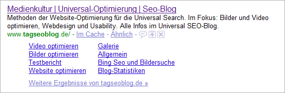 Long-Sitelinks - Beispiel tagSeopBlog.de
