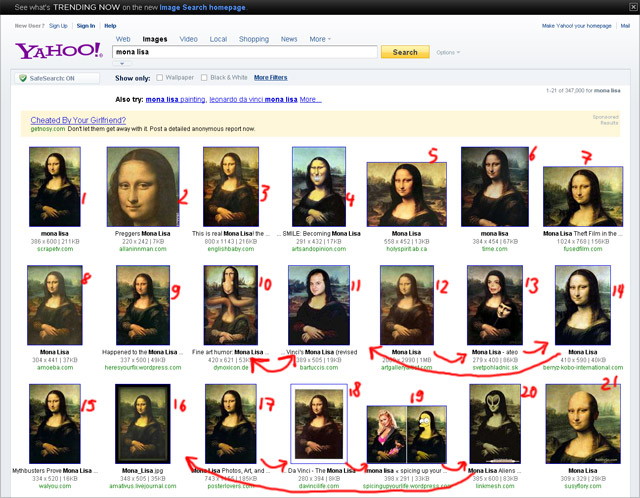 Yahoo Bildersuche August 2010 (US-Version, keyword Mona Lisa)