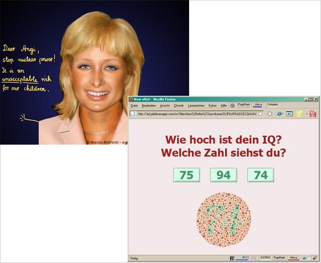 Via yasni-Seite: Angela Merkel mit nerviger Popup-Werbung