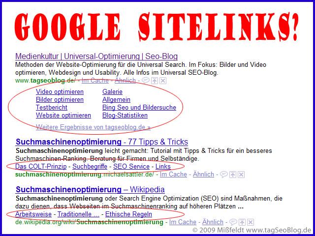 Google Sitelinks als eyecatcher (long und mini)