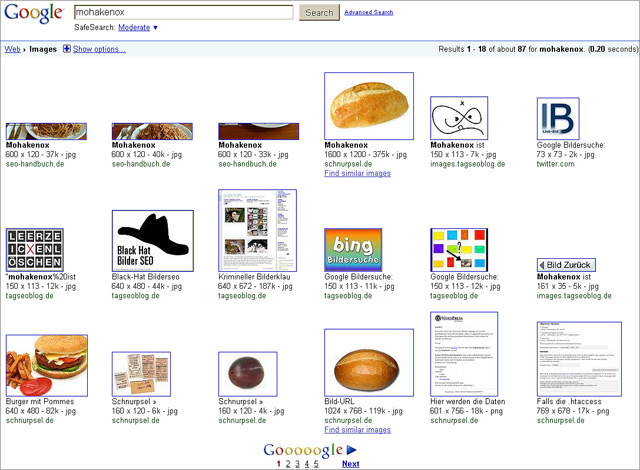Mohakenox in der Google Bildersuche (Stand: 09.03.2010)