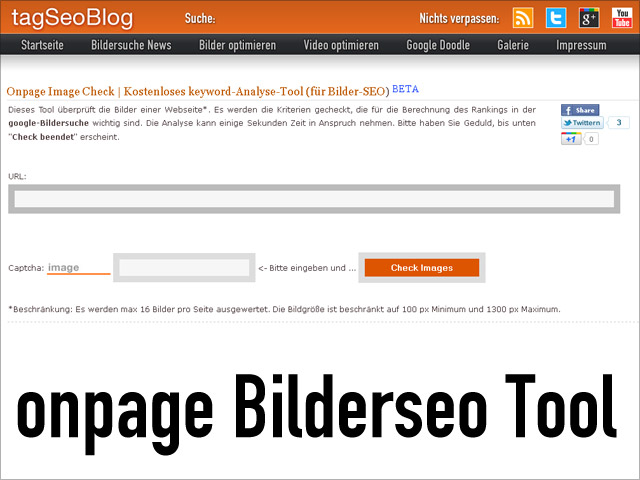 Onpage Bilderseo Tool (zur Analyse von Bildern auf Websites)