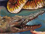 Krokodil hat scharfe Zähne