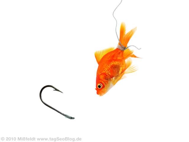 Seo Linkbait - Goldfisch und Angelhaken