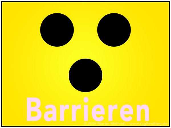 Blindenzeichen, schwarze Punkte auf Gelb