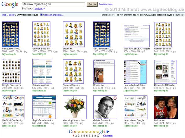 Neues Layout von Google Images (nach Größe sortiert)