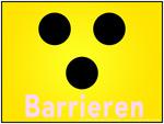 Blindenzeichen: Drei schwarze Punkte (dunkel) auf leuchtend gelbem Grund (hell)