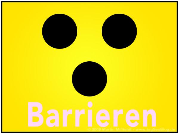 Blindenzeichen: Schwarze Punkte auf gelb. Bild zum Artikel: Barrierefreiheit für Mensch und Maschine