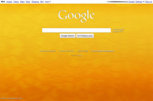 Google Startseite: edles, warmes Gold