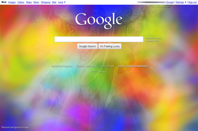Google Startseite: Gott Farbwolke