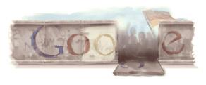 Google Doodle am 9. November 2009 zum Mauerfall