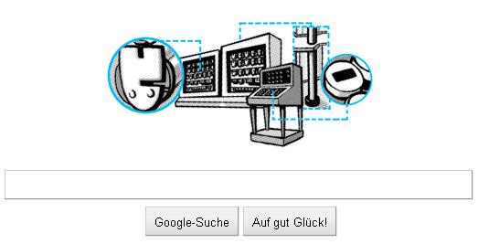Google-Doodle: Konrad Zuse 100. Begurtstag (Erfinder des Computers)