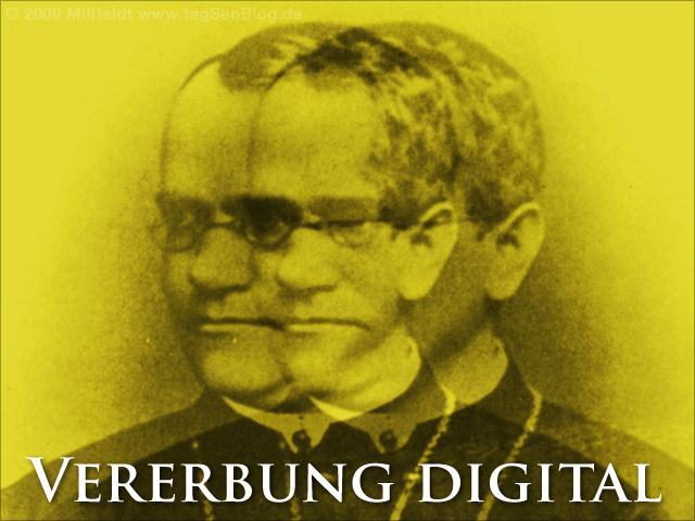 Digitale Collage: Vererbung digital (Gregor Mendel)